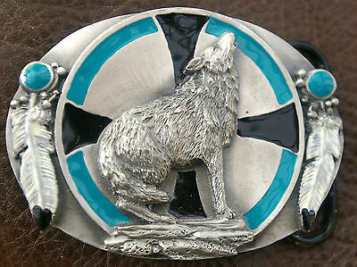 Ladies Vintage Siskiyou Belt Buckle ~ Howling Wolf  ~ Made From Solid Pewter