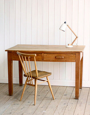 Vintage Solid Oak Teachers Writing Desk With Drawers Mid Century