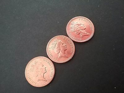 3 x 1p one penny coins. 1990,1991 & 1992 (Small size) rare, circulated......