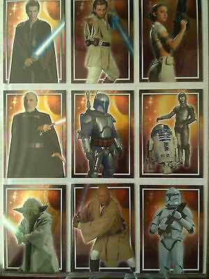 Star Wars : Attack of the Clones 10 Character Foil Card Set Topps UK - 2002