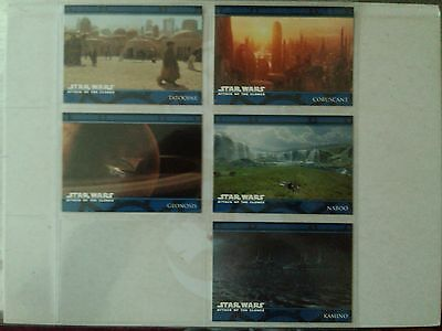 Star Wars : Attack of the Clones 5 The Planets P1 - P5 Card Set Topps UK - 2002
