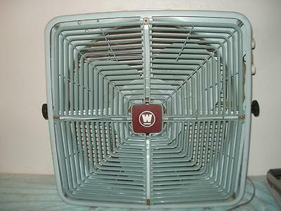 Vintage Westinghouse 3 Speed Box Fan Blue Exaust Intake Climate Control 23''