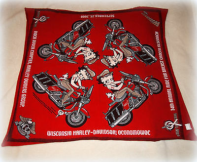 Harley-Davidson Betty Boop 2008 Breast Cancer Research Ride Red Scarf Bandana