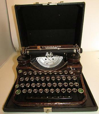 Vintage Underwood Standard Portable Typewriter w/ Wood Grain & Green Shift Keys!