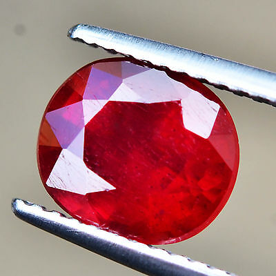 Certified 2.97ct 100%Natural Oval Top AAA Collection Rich Red Ruby Mozambique
