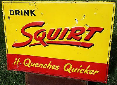 Vintage, Squirt Soda Tin Sign, 1947, Large & Rare