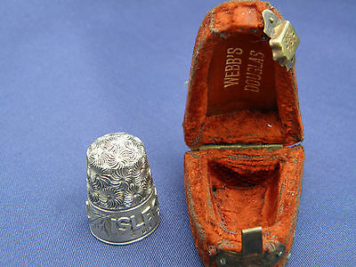 BEAUTIFUL ANTIQUE 1878 SOLID SILVER ISLE OF MAN THIMBLE ~ With original box HS