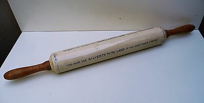 ANTIQUE Isobel Porcelain Advertising Baking Dough Rolling Pin Coombs Kilverts