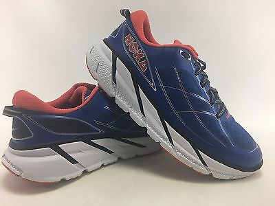 Hoka One One Men's Clifton 2 Running Shoes in Blue/Red Size 9