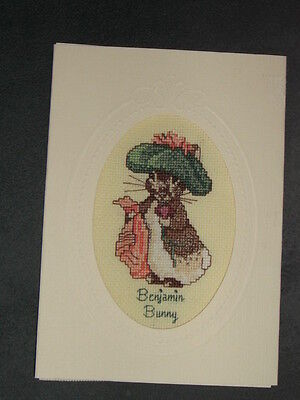 BENJAMIN BUNNY CARD. Finished counted cross stitch card.