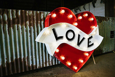 """Large """"Love"""" Heart marquee light vintage fairground tattoo style wedding sign"""