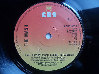 """The Mash Theme From MASH (Suicide Is Painless) 7"""" Single CBS 1970 Ex Cond.."""