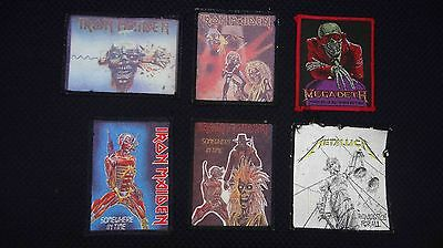 Lot Of 4 Iron Maiden, 1 Megadeth & 1 Metallica Vintage Embroidered Jacket Patch