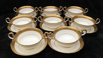 Aynsley Gold Trim Soup Bowls w/ Plate Most are in Great Condition, 4 Xtra Plates