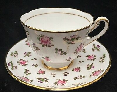 """Royal Chelsea Cup and Saucer """"Britannia"""" Pink and Purple Flowers"""