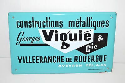 PLAQUE EMAILLEE ANCIENNE VIGUIE CONSTRUCTIONS Emaillerie Alsacienne Strasbourg