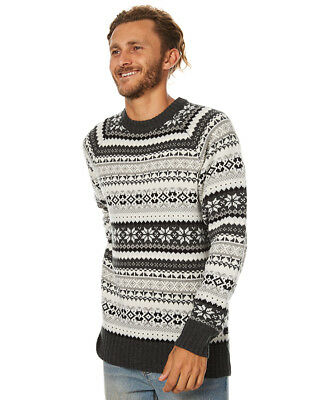 New Swell Men's Whistler Mens Knit Crew Neck Wool Acrylic Grey