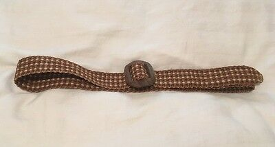 Vintage 1940s Woven Hessian Belt With Wooden Buckle