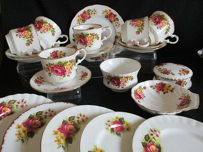 Vintage colourful roses pattern mismatched English china Tea set for 6