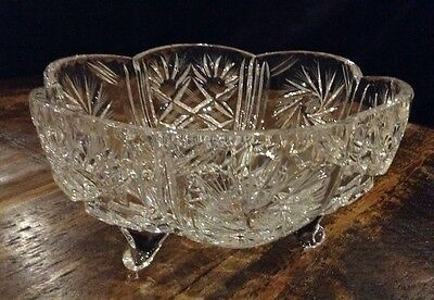 Heavy Large Crystal Footed Pinwheel Cut Crystal Fruit Bowl