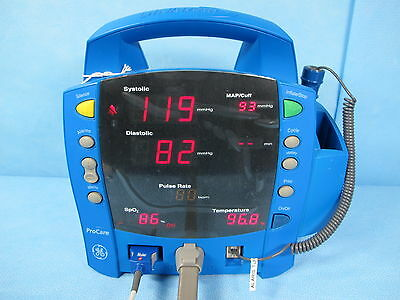 GE Dinamap Procare 400 Vital Signs Monitor w/ Masimo Warranty Accessories Cuffs