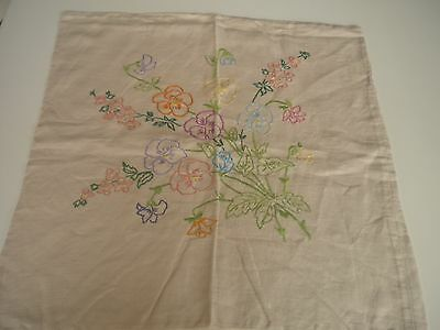 Vintage Hand embroidered cushion cover in 100% linen