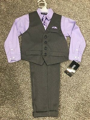 NWT Happy Fella Purple Grey 4 Piece Suit Shirt Vest Pants Tie 4T