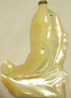 Antique Oriental Carved Mother Of Pearl Fish Form Snuff Bottle