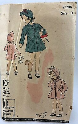 1930s 1939 Du Barry sewing pattern girl size 3 Coat and Hat Bonnet 2220B