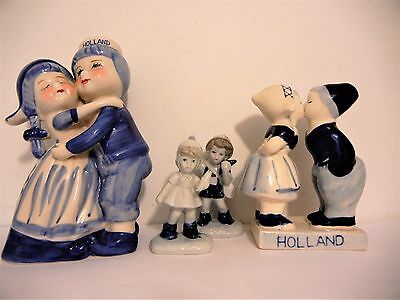 Vintage Holland Delft Blue Kissing Couple Lot Of Three (3) Ceramic Porcelain