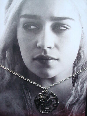 New *GAME of THRONES* Necklace - DRAGONS House TARGARYEN Sigil Pendant & Chain