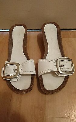 Next Ladies White Wedge Mules Sandals Shoes Size 5
