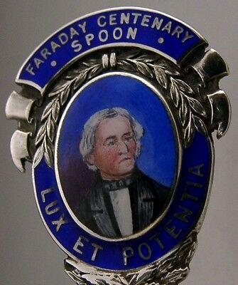 Rare Faraday Sterling Silver Enamel Souvenir Spoon 1929 Antique