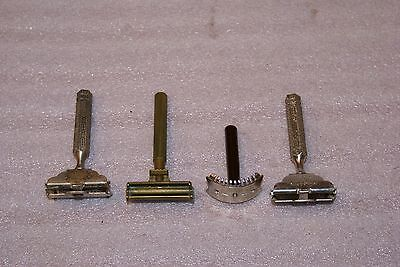 Lot of 4 Vintage Safety Razors Gillette Valet Curved Intimate Ever Ready Single