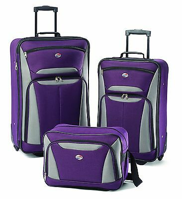 American Tourister Luggage Fieldbrook II 3 Piece Set Purple/Grey