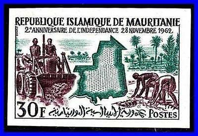 MAURITANIA 1962 FARM WORKERS SC#172 imperforate MNH TRACTORS PALM TREES (D056)
