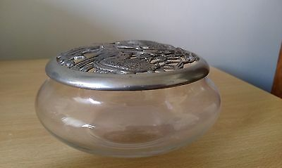 glass dressing table pot with pewter lid
