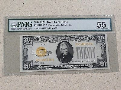 1928 $20 Gold Certificate Fr#2402 PMG Currency Certified About Uncirculated 55