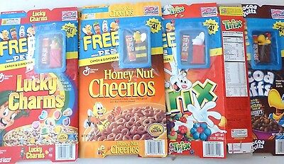 Lot Of 4 Mini PEZ Dispensers Cereal Premiums On Empty Boxes, Trix, Cocoa Puffs