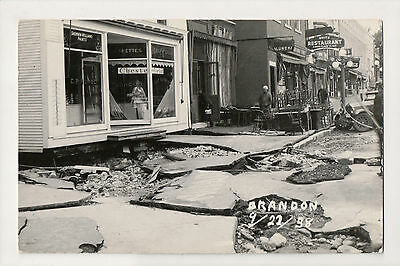 Brandon Vermont Hurricane Damage Store Fronts 1938 Real Photo Postcard RPPC