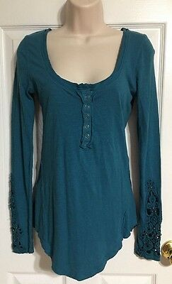 Free People Detailed Sleeve Turquoise Top XS Vampire Diaries Wardrobe