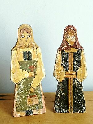 Old Vintage Antique Pair Of Russian Hand Painted Wooden Peasant Dolls Folk Art
