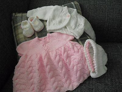 Hand Knitted 4  Dress Set Dk Wool 0-3 Months