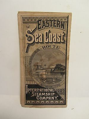 Eastern Steamship Co. 1882 Eastern Sea Coast Route Brochure