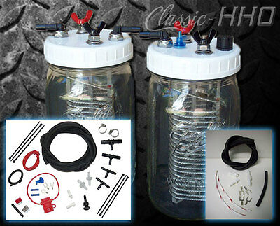 Classic-HHO 2-Cell Hydrogen Generator Kit - Gas or Diesel Engine. Save on Fuel!