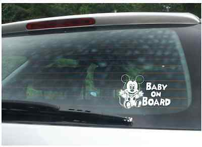Baby on board funny decal for Car Bumper Van Window mickey mouse