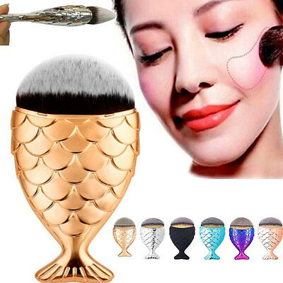 Mermaid Tail Fish Scale Makeup Cosmetic Brush Powder Cream Foundation Blush