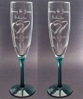 Wedding Toasting Flutes,Emerald Hex Stem, Set of 2