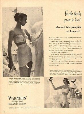 1951 vintage lingerie AD WARNER'S 3 way Sized  Girdles and Bras 032017