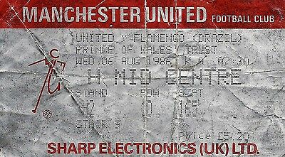 Ticket : Manchester United v Flamengo - Prince Of Wales Trust - 06 August 1986